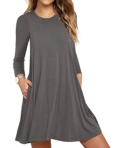 Unbranded* Women Long Sleeve Round Neck Summer Casual Loose Dress Gray X-Small