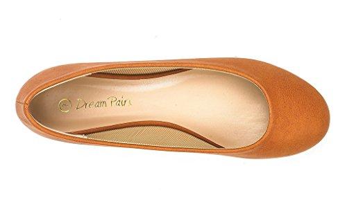 DREAM PAIRS Damen Sole Einfache Ballerina Walking Wohnungen Schuhe Tan Pu