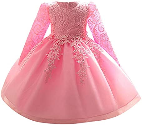 718335323 Kids Toddler Baby Girl Dress Long Sleeves Lace Bowknot Party Princess  Wedding Dress Pageant Bridesmaid Dresses Prom Ball Gown Long Dress  (Age:6-12 Months, ...