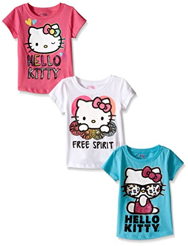Hello Kitty Little Girls' Toddler Value Pack T-Shirts, Pink/White/Teal, 3T