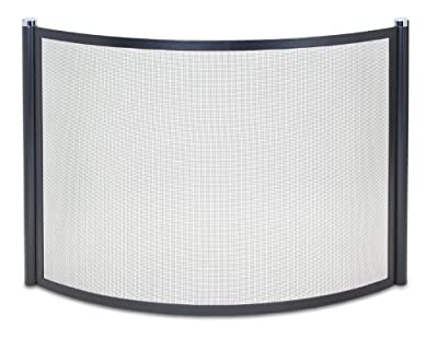 Pilgrim Home and Hearth 18345 Metro Bowed Fireplace Screen, Black and Polished Nickel