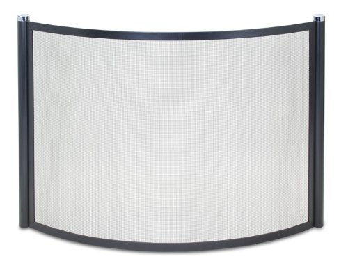 Pilgrim Home and Hearth 18345 Metro Bowed Fireplace Screen, Black and Polished Nickel, 44.5″W x 32″H 27 lbs,