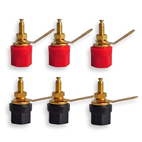 4mm Banana Plug, Conwork 6-Pack Pure Copper Binding Post for Amplifier Speaker Terminal Connector