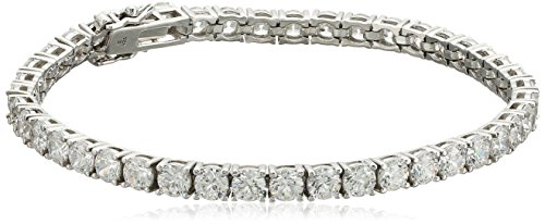 Platinum-Plated Sterling Silver Round-Cut Swarovski Zirconia Tennis Bracelet, 7.25