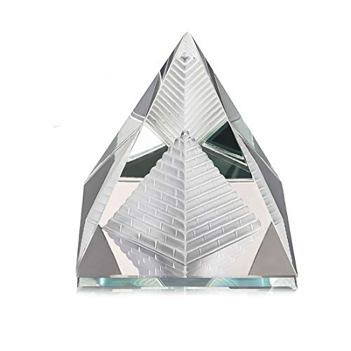 H&D Clear Crystal Pyramid Paperweight with Gift Box 2