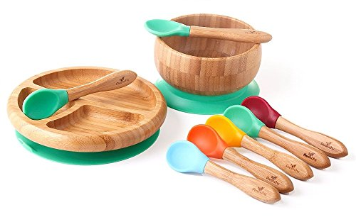 Price comparison product image Rainbow Gift Set Green - Baby Shower, Baby Registry, Home Set & More. Baby Girl, Baby Boy, Unisex. Baby Bowl Set + Baby Plate Set + Assorted Baby Spoons Set. FDA Approved BPA Free
