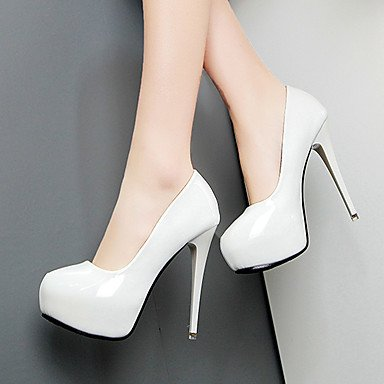 Blanco White Lvyuan ggx Casual Negro Descubierto 9'5 Mujer Tacones 7'5 Rojo Cms Primavera Pu Talón W6x8TB6qrw