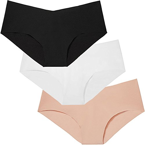 Victoria's Secret 3 Womens Seamless Black, Nude & White Panties Medium ()
