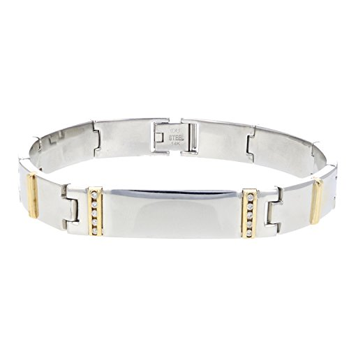 Men's 1/8 CT Diamond Bracelet 9.2 Inches In Stainless Steel and 14K Yellow Gold