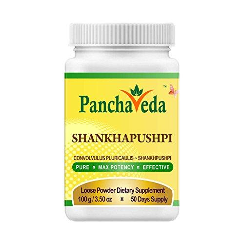 Panchaveda Shankhapushpi Powder Organic, Ayurvedic, Herbal, Natural Nootropic Brain Function Support - Convolvulus Pluricaulis Shankhpushpi Churna Memory Booster For Mental Clarity Focus Intelligence