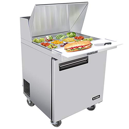 28 Inches Single Door Mega Top Sandwich Prep Table Refrigerator - KITMA 7.9 Cu.Ft Stainless Steel Refrigerated Salad Sandwich Prep Station Table with Cutting Board and 12 Pans, 33 °F - 38°F (Sandwich Top Prep Unit)