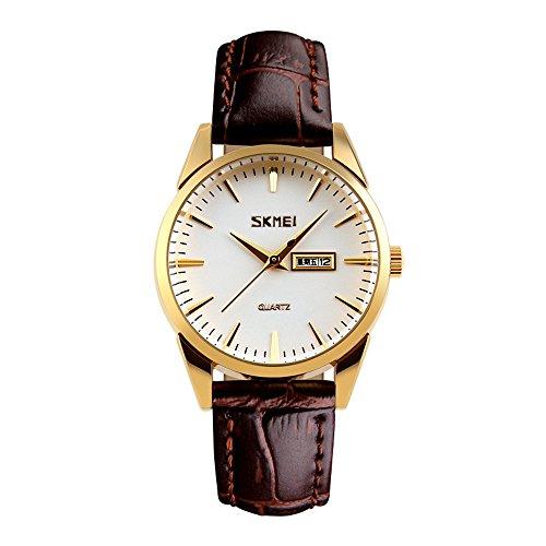 Skmei men's dual calendar waterproof business belt Quartz gift watches (8 styles) (Female gold silver)