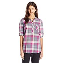 Columbia Sportswear Women's Coral Springs II Woven Long Sleeve Shirt, Grey Ash Plaid, X-Large