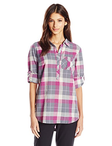 Columbia Sportswear Women's Coral Springs II Woven Long Sleeve Shirt, Grey Ash Plaid, Small ()