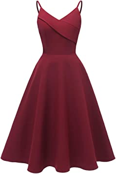 YWZNB Abendkleider Damska Hosenträger V-Ausschnitt Kleid sexy Partei Hochzeit Cocktailkleid,Rot,S: Küche & Haushalt