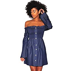 Kaifongfu Denim Dress Women, Fashion Long Sleeve Off Shoulder Denim Mini Dress For Women (S, Blue)