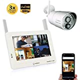 Sequro GuardPro2 1080P Wireless Security Camera System Long Range Weatherproof Surveillance DVR Kit with 7-inch Touchscreen Monitor, Night Vision for Home, Warehouse, Barn, Driveway (1-cam kit)