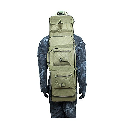 AV SUPPLY 38 Inch Waterproof Tactical Double Rifle Storage Case Military Backpack Double Gun Bag with Padded Shoulder Strap and Pouches, Green