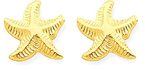 ICE CARATS 14k Yellow Gold Starfish Post Stud Earrings Animal Sea Life Fine Jewelry Gift Set For Women (14k Gold Starfish Earrings)