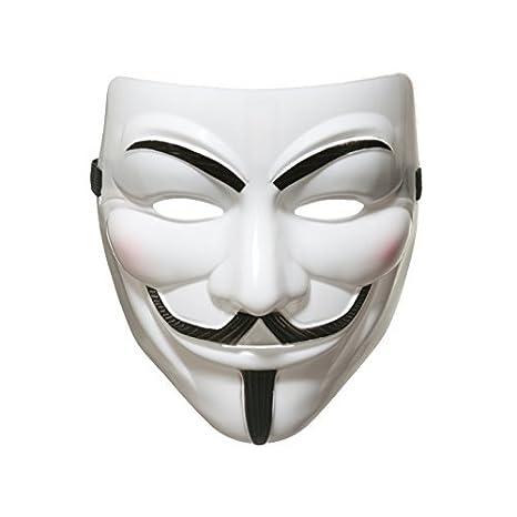 Whobabe 990222 V para Vendetta Anonymous Guy Fawkes Halloween Masquerade Mascarilla, Unisex Adulto, Blanco