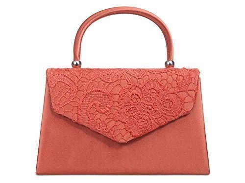 Prom Floral Haute Diva's Lace Front Envelope Hardcase For Bag Coral Satin Party Womens Evening Hand Clutch Handle yyvrA