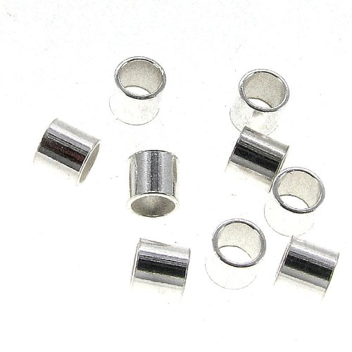Mother Of Pearl Round Tube (20 pcs 925 Sterling Silver 3mm Large Round Crimp Bead Tube Spacer)