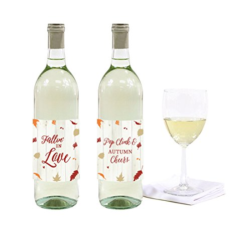 Andaz Press Fallin' in Love Autumn Fall Leaves Wedding Party Collection, Wine Bottle Labels, 8-Pack