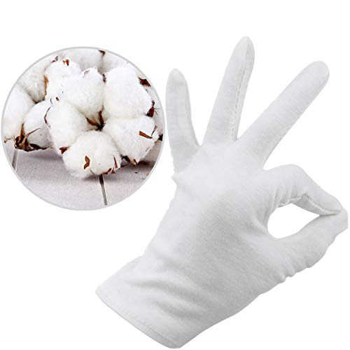 Alyan & Jammsy 12 Pairs Cotton Gloves for Hands Cosmetic Moisturizing Spa, Eczema Treatment Overnight, Jewelry Inspection, Party Wearing for Women(Medium, White)