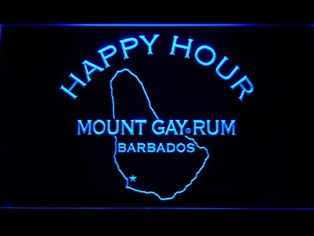 Morganneon Mount Gay Rum Happy Hour W40cm X H30cm Led Neon Light Sign Blue Küche Haushalt