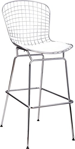 (Mod Made Mid Century Modern Chrome Wire Barstool for Bar or Kitchen, White)