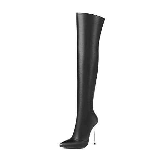 cd56e803c Nine Seven Patent Leather Women's Pointy Toe Over-The-Knee Boots - Handmade Stiletto  High Heel Side Zipper Dress Boots: Amazon.ca: Shoes & Handbags