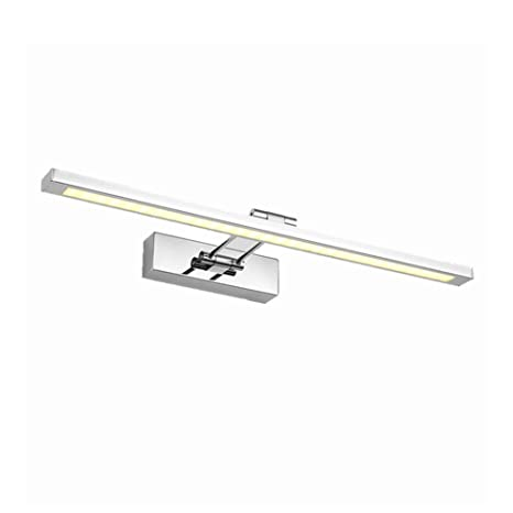 Baño Espejo Apliques Iluminación LED Luz de espejo Acero inoxidable Portalámparas Rotativa Lámpara de espejo Maquillaje Lámpara-Luz blanca 55cm+12W