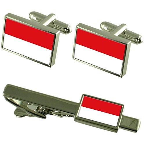 Cravate boutons de manchette Drapeau de l'Indonésie un Ensemble cadeau correspondant