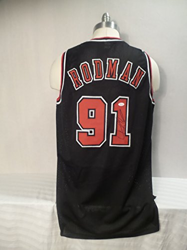 100 Nba Jersey Numbers - Dennis Rodman Signed Chicago Bulls Black Autographed Custom Men XL Jersey JSA