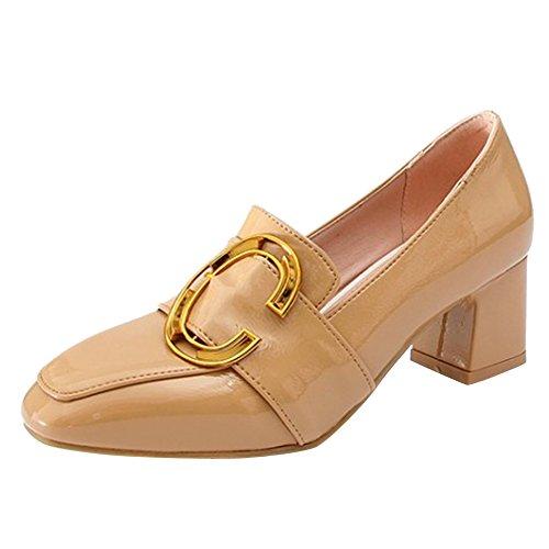 Spectacle Briller Des Femmes Chunky Talon Slip Sur Des Mocassins Chaussures Abricot