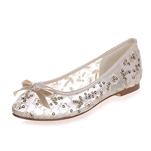 Fashionmore Women's Closed Toe Ballet Flats Gold 8.5 US