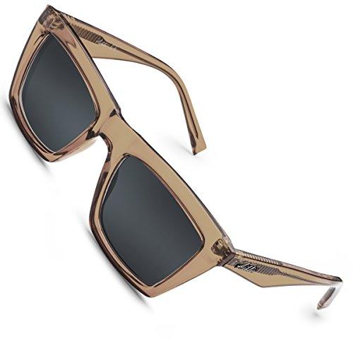 da riflettente Women Grigio Aiblii con Men per protezione Uv400 sole Occhiali Vintage Occhiali polarizzato specchio Wayfarer obiettivo Nudo unisex d8dIwR