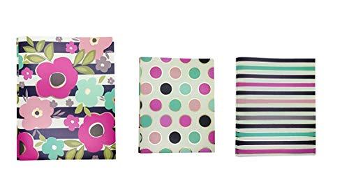 2-Pocket Plastic Folder with 3 Prong Harper Collection by Pink Light Design(Pack of 3)