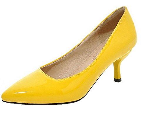 AllhqFashion di Giallo Ballet Tacco Pelle Solid Maiale Donna Medio FBUIDD006827 Tirare Flats 4Tw1r4q