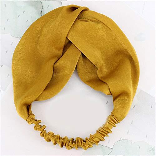 MOPOLIS Women Suede Headband Bohemian Cross Knot Elastic Hairband Headwear Head Wrap 1Pc | Color - Silky-yellow
