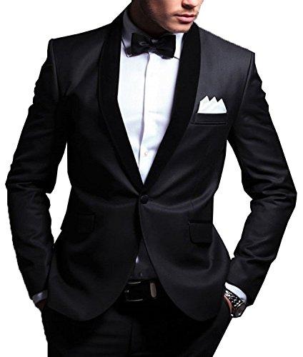 Lapel Tuxedo Suit (JY Men's 2 Pieces Wedding Suits Shawl Lapel Groom Tuxedos Blazer Jacket Pants Set)