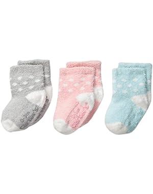 Baby-Girls Newborn Dot Chenille Socks (Pack of 3)