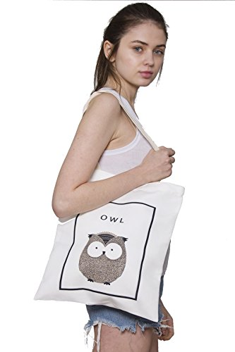 (BYOS Eco Concept Graphic Shoulder Tote Bag, Durable Canvas Cotton & Reusable for Shopping, Beach Picnic, Zipped & Snap Closure, Many Prints (Snap Closure Medium Size, Owl))