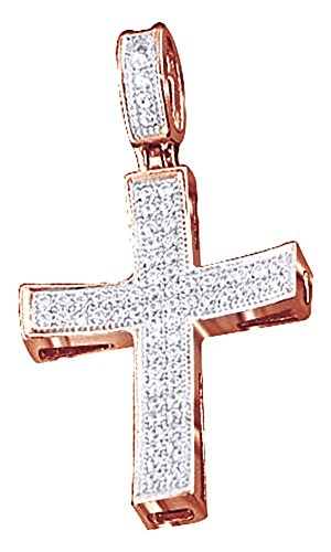 Round Cut Natural Diamond Hip Hop Men's Cross Pendant 10K Solid Rose Gold (0.29 Cttw) by Wishrocks