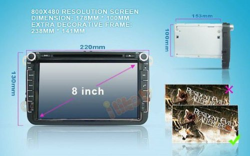 8 inch Touch screen Volkswagen DVD Player GPS Navigation for VW Jetta,VW Golf,VW Passat with DVD/GPS/PIP/3D/Game/AnalogTV/Bluetooth/ BT music/Ipod/BT telephone book/CANBUS (camera view),Steering Wheel Control by EinCar (Image #8)
