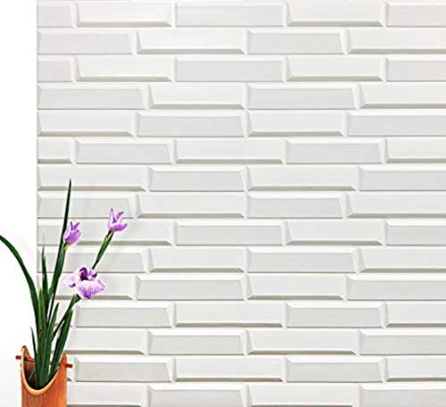 (Art3d Peel and Stick 3D Wall Panels for Interior Wall Decor, White, 27.5