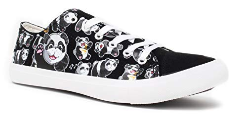 Panda Bear Sneakers | Cute Fun Gym Trainer Animal Canvas Tennis Shoe - Women Men - (Lowtop, US Men's 10, US Women's 12) Black -