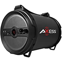 AXESS SPBT1040GY Portable Bluetooth 2.1 Hi-Fi Cylinder Loud Speaker with Built-In 6 Sub and FM Radio, SD Card, USB, AUX, 6.5mm Inputs in Gray (2x Wired Mics Included)
