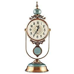 DSADDSD &Bedside Clocks Table Clock for Living Room Decor Ceramic Pendulum Desk Clocks Battery Operated Non Ticking Silent Bedroom European Retro Decorative MetalSilent