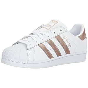 adidas Women's Superstar W Sneaker, White/Cyber Gold/White, 8 M US